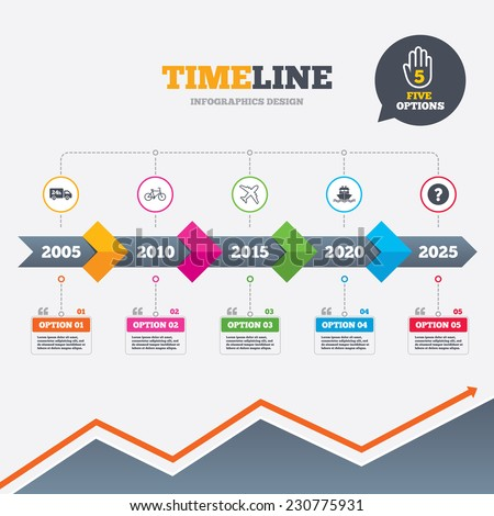 Timeline infographic with arrows. Cargo truck and shipping icons. Shipping and eco bicycle delivery signs. Transport symbols. 24h service. Five options with hand. Growth chart. Vector - stock vector