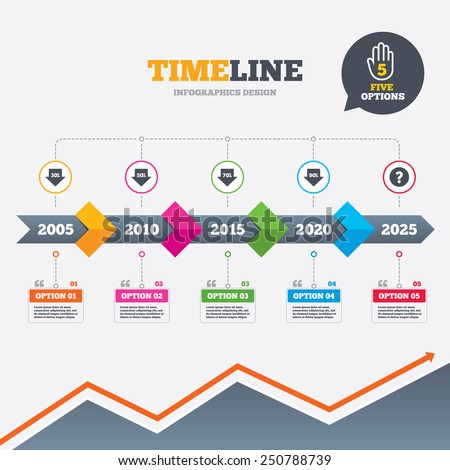 Timeline infographic with arrows. Sale arrow tag icons. Discount special offer symbols. 30%, 50%, 70% and 90% percent discount signs. Five options with hand. Growth chart. Vector - stock vector
