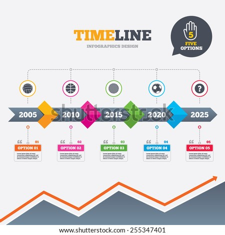 Timeline infographic with arrows. Sport balls icons. Volleyball, Basketball, Soccer and Golf signs. Team sport games. Five options with hand. Growth chart. Vector - stock vector