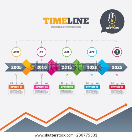 Timeline infographic with arrows. Top-level internet domain icons. Com, Eu, Net and Org symbols. Unique DNS names. Five options with hand. Growth chart. Vector - stock vector