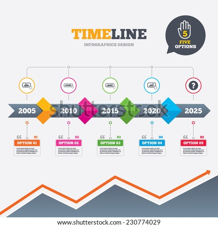 Timeline infographic with arrows. Top-level internet domain icons. De, Com, Net and Nl symbols with hand pointer. Unique national DNS names. Five options with hand. Growth chart. Vector - stock vector