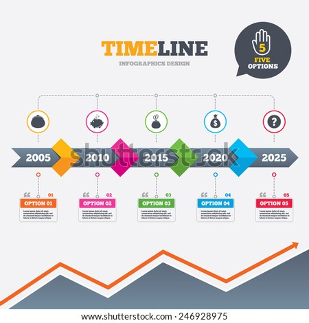 Timeline infographic with arrows. Wallet with cash coin and piggy bank moneybox symbols. Dollar USD currency sign. Five options with hand. Growth chart. Vector - stock vector