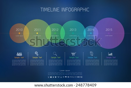 Timeline infographic with blur background and icons set for business design, reports, step presentation, number options, progress, workflow layout or websites.  - stock vector