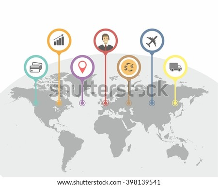 Timeline infographic with unfocused background and icons set. World map, flat - stock vector