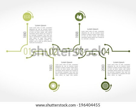 Timeline infographics design template, green eco style, vector eps10 illustration - stock vector