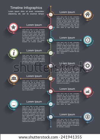 Timeline infographics design template, nine elements, place for your icons and text, vector eps10 illustration - stock vector