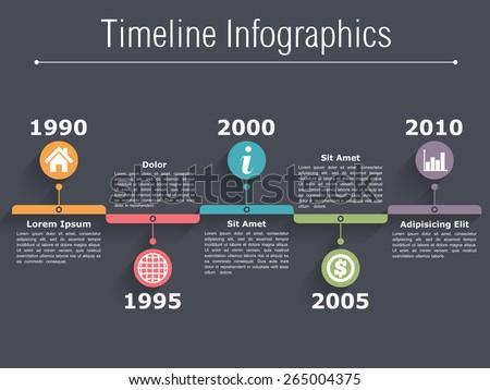 Timeline Infographics design template on dark background, vector eps10 illustration - stock vector