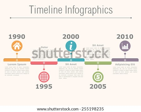 Timeline infographics design template with dates, icons and text, vector eps10 illustration - stock vector