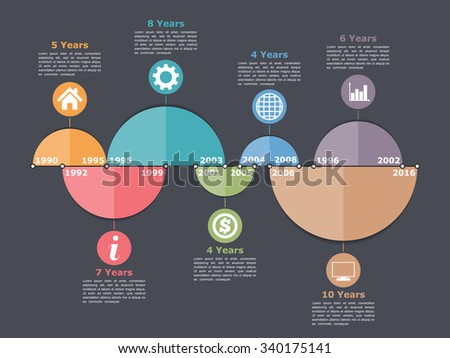 Timeline infographics design template with different time intervals, can be used as portfolio design or process diagrams, vector eps10 illustration - stock vector
