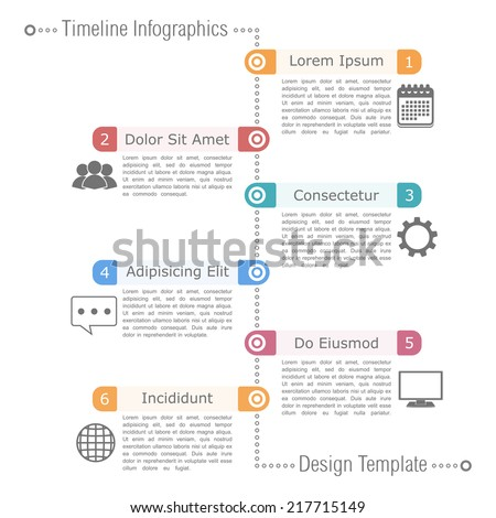 Timeline infographics design template with icons, vector eps10 illustration - stock vector