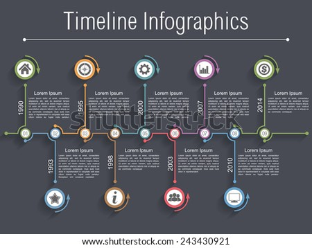 Timeline infographics design template with nine elements, vector eps10 illustration - stock vector