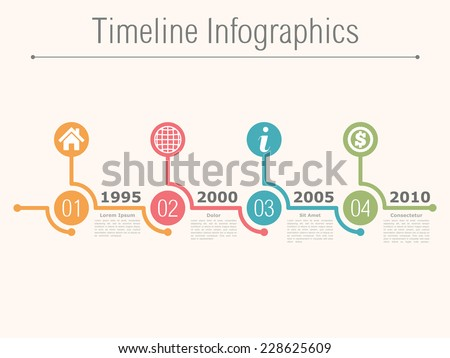Timeline infographics design template with numbers, icons, place for date and text, vector eps10 illustration - stock vector