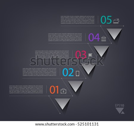 Timeline infographics design template with 5 options, process diagram, vector eps10 illustration. 3d paper triangles.