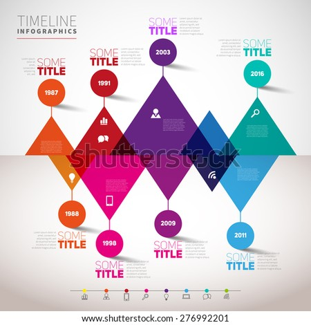 Timeline infographics design template with triangle peaks, vector eps10 illustration - stock vector