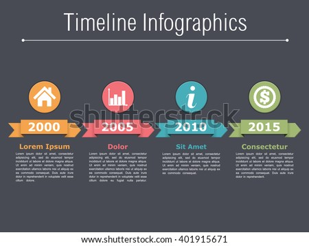 Timeline infographics design with arrows, workflow or process diagram, flowchart, flat timeline template, vector eps10 illustration - stock vector