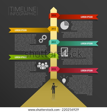 Timeline infographics, elements with icons. Vector black - stock vector