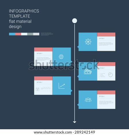 Timeline infographics template. Menu options elements. Material design layout. Line art icons, graphs and charts. Project management concept. Eps10 vector illustration. - stock vector