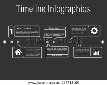 Timeline infographics template, vector eps10 illustration - stock vector