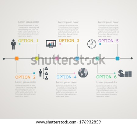 Timeline, infographics template with stepwise structure - stock vector