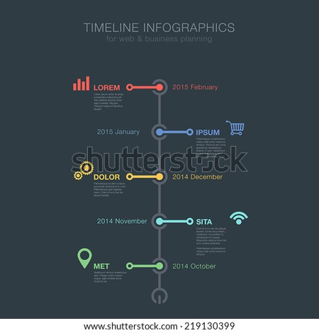 Timeline Infographics tree view vertical vector design template for business financial reports, website, infographic statistics. Editable. - stock vector
