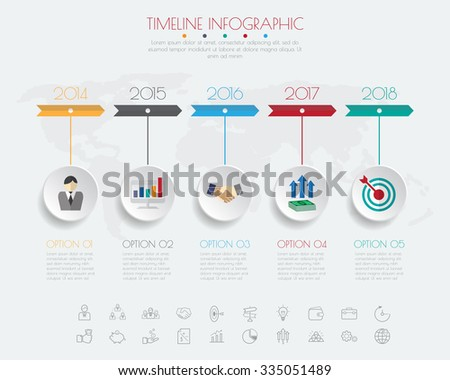timeline infographics with icons set. - stock vector