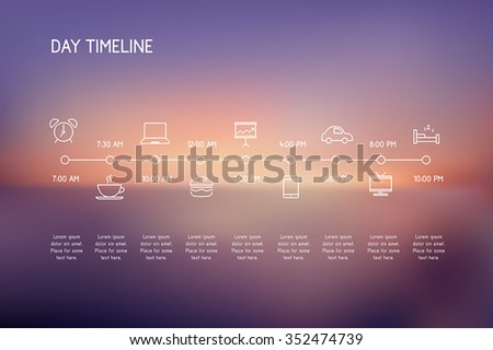 Timeline of a day - vector icons representing various actions during a day. - stock vector