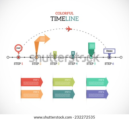 Timeline Pro - Travel - different tooltips - vector infographic - stock vector