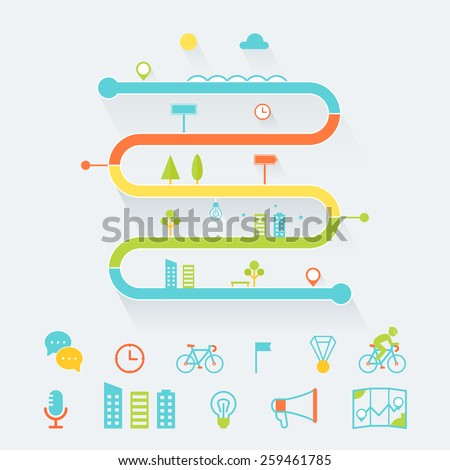 Timeline, Route and Road Map Infographics Elements Set - stock vector