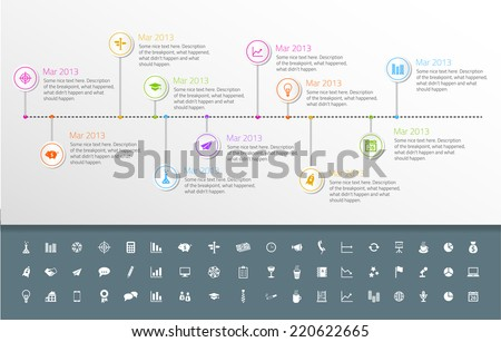 Timeline template in sticker style with set of icons. Light background - stock vector