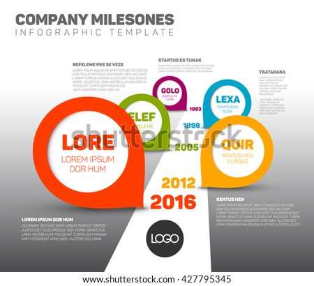 Timeline template Infographics with Company Milestones on the road - stock vector