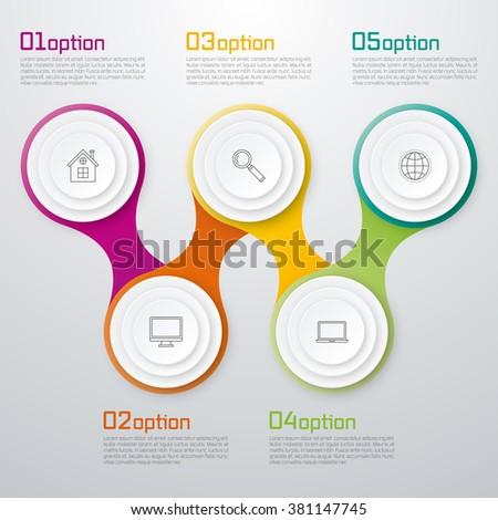 Timeline Vector 3d Infographic five options. Stock vector - stock vector