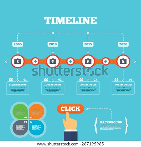 Timeline with arrows and quotes. Businessman case icons. Cash money diplomat signs. Dollar, euro and pound symbols. Four options steps. Click hand. Vector - stock vector
