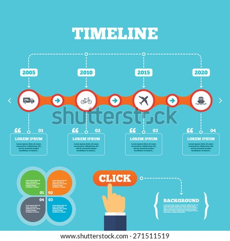 Timeline with arrows and quotes. Cargo truck and shipping icons. Shipping and eco bicycle delivery signs. Transport symbols. 24h service. Four options steps. Click hand. Vector - stock vector