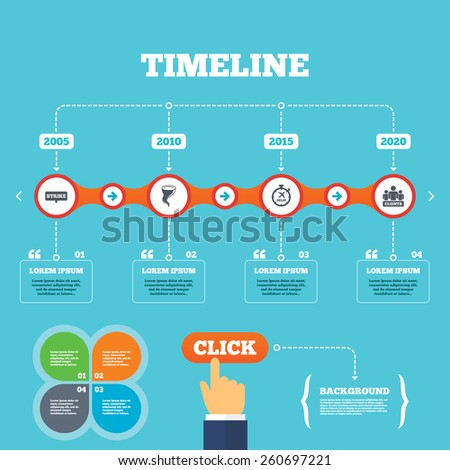Timeline with arrows and quotes. Strike icon. Storm bad weather and group of people signs. Delayed flight symbol. Four options steps. Click hand. Vector - stock vector