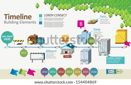 Timeline with building element - stock vector