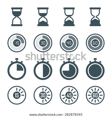 timer, digital timer, stopwatch, hourglass icons set in flat style, isolated on white background. vector illustration - stock vector