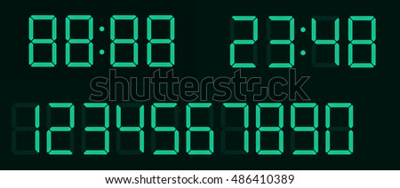 Timer, green fluorescent digital display with separate figures in layers