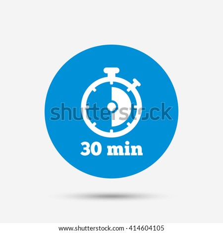 Timer sign icon. 30 minutes stopwatch symbol. Blue circle button with icon. Vector - stock vector