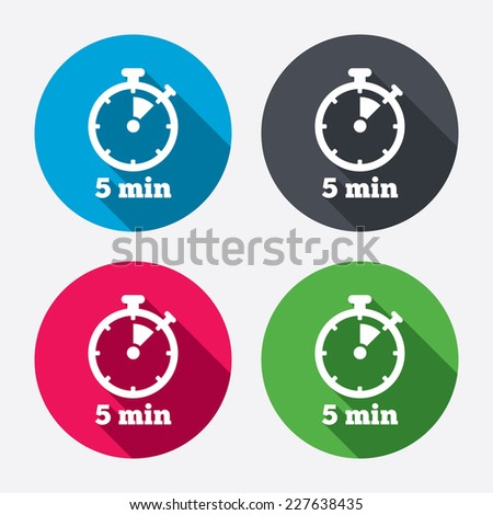 Timer sign icon. 5 minutes stopwatch symbol. Circle buttons with long shadow. 4 icons set. Vector - stock vector