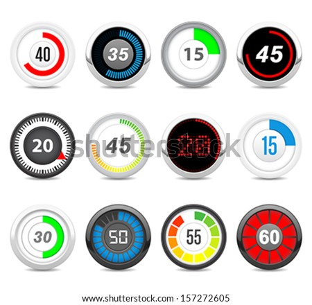 timers set  Twelve different timers. Each timer has twelve positions (5, 10, 15, 20, 25, 30, 35, 40, 45, 50, 55, 60) in hidden layers.  - stock vector