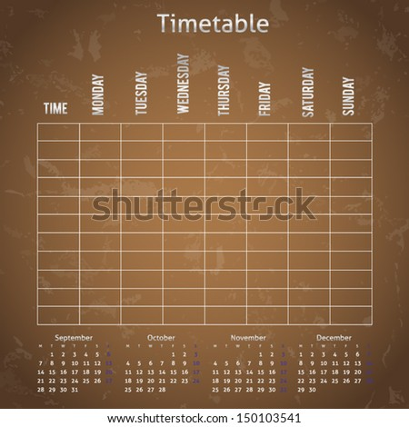 Timetable on the blackboard for any planning - stock vector