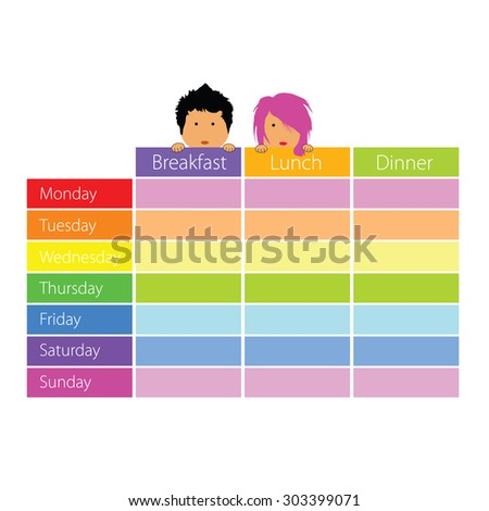 timetable with happy kids color vector illustration - stock vector