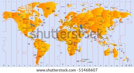 Timezone map - vector color illustration - stock vector