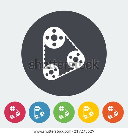 Timing belt. Single flat icon on the button. Vector illustration. - stock vector