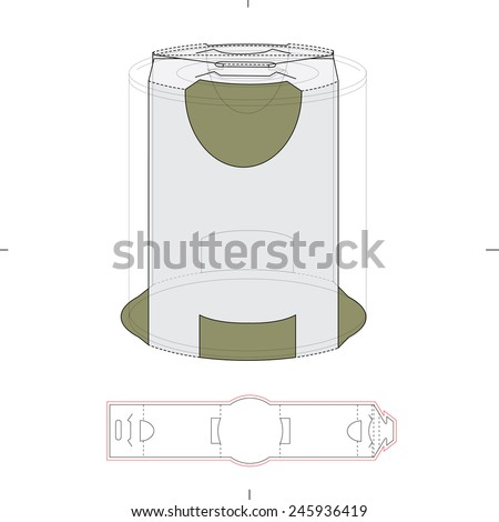 Tin can Holder Package with Die Cut Template - stock vector