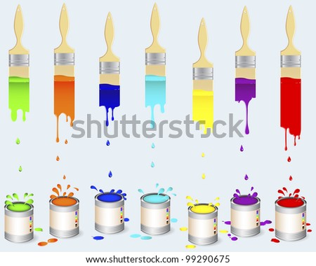 Tins of colour paint and flat brushes leave a multi-colored vertical trail with splash and drops. Vector illustration. - stock vector