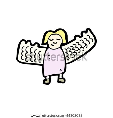 tiny angel cartoon - stock vector