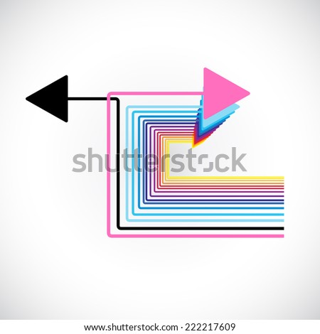 tiny black arrows choosing their pathway - stock vector