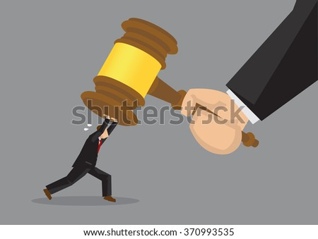 Tiny cartoon businessman character pushing hard against a giant gavel coming down at him. Creative vector illustration on resisting the final verdict concept. - stock vector
