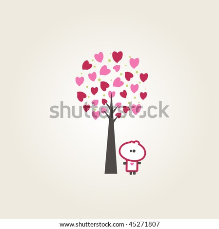 Tiny dude standing beside a beautiful hearts tree - stock vector